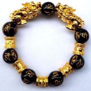 Pixiu Bracelet with Obsidian stones